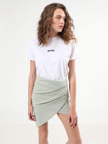 חצאית מעטפת אסימטרית מיני