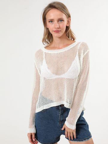 חולצת רשת סרוגה