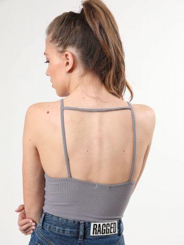 בגד גוף ריב עם פתח מרובע בגב