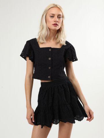 חצאית תחרה מיני עם סיומת גלית
