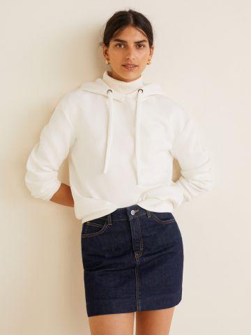 חצאית ג'ינס מיני בשטיפה כהה