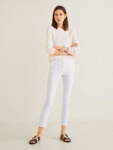 מכנסיים מחויטים Slim-fit קרופ בהדפס פסים