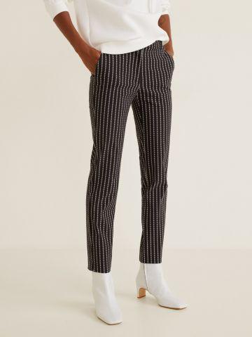 מכנסיים מחויטים Slim-fit קרופ בהדפס נקודות