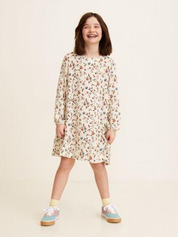 שמלה בהדפס פרחים עם שרוולים ארוכים