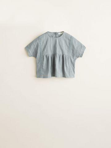 חולצה בעיטור תחרה עם כפתורים / בייבי בנות