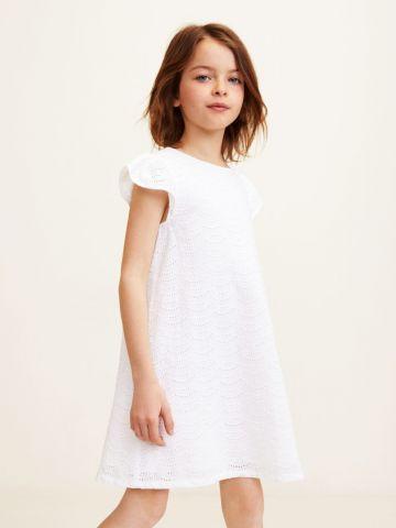 שמלה עם רקמה ושרוולי מלמלה