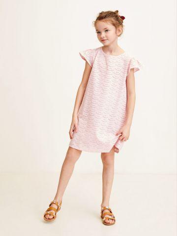 שמלה עם רקמה ושרוולי מלמלה / בנות