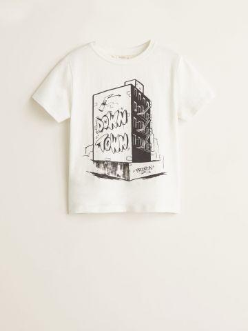 טי שירט עם הדפס בניין Down Town Brooklyn / בנים