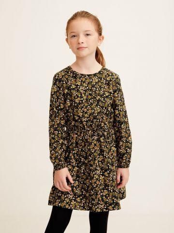 שמלה בהדפס פרחים עם פפיון בחזית / בנות