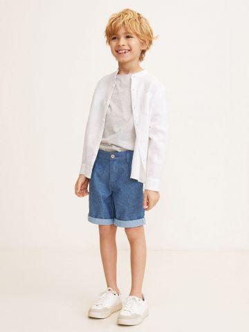 מכנסי ברמודה עם קיפולים בסיומת / בנים