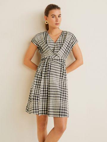 שמלת מיני משבצות עם קשירה במותן