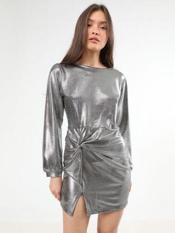 שמלת מיני מטאלית עם טוויסט בחזית