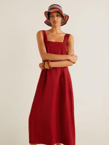 שמלת פשתן מידי עם כפתורים בצד