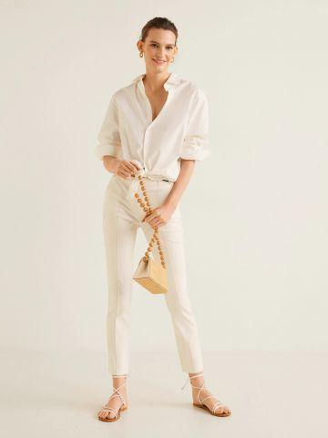 מכנסי פשתן סקיני עם תפרים בולטים