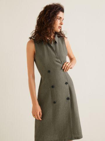 שמלת פשתן מידי בשילוב כפתורים