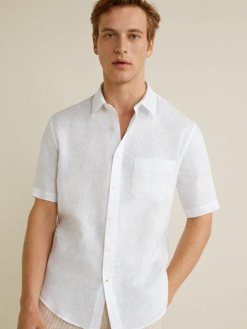 חולצת פשתן מכופתרת עם כיס