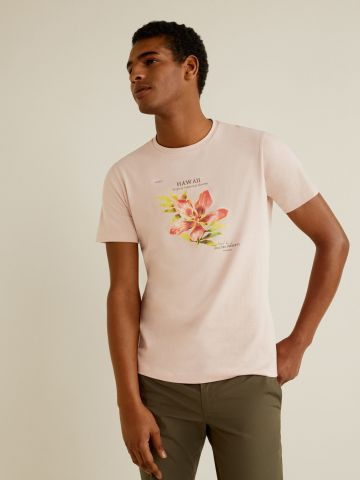 טי שירט עם הדפס פרח Hawaii