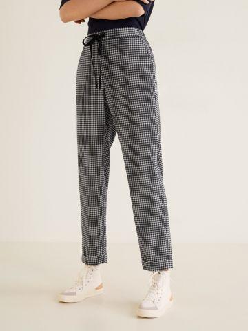 מכנסיים בהדפס משבצות עם קשירה