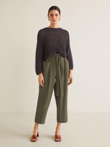 מכנסיים בגזרה ישרה עם כיסים וחגורת קשירה