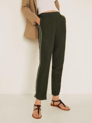 מכנסי פשתן ארוכים עם סטריפים בצדדים