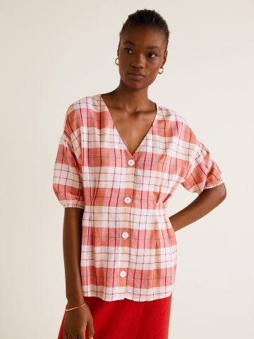 חולצה מכופתרת בהדפס משבצות עם שרוולים נפוחים