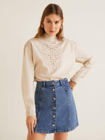 חצאית מיני ג'ינס עם כפתורים