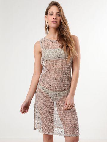 שמלת רשת מיני עם שסעים