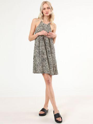 שמלת קולר מיני בהדפס מנומר