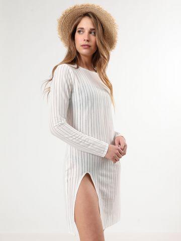 שמלת רשת פסים מיני עם שסע