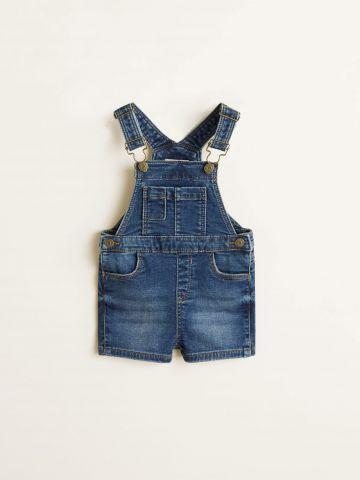 אוברול ג'ינס קצר עם כיסים / בייבי בנים
