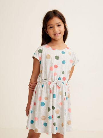 שמלה בהדפס נקודות עם פפיון / בנות