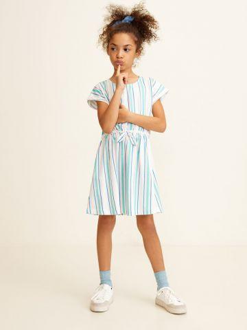 שמלה בהדפס פסים עם פפיון / בנות