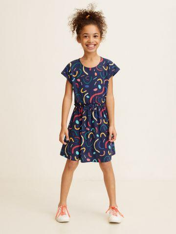 שמלה בהדפס צבעוני מקושקש עם פפיון / בנות