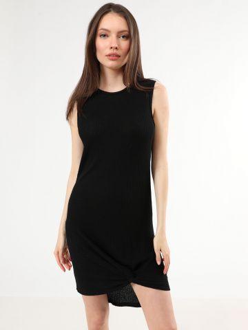 שמלת וופל מיני עם טוויסט בסיומת