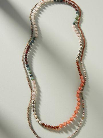 שרשרת כפולה מחרוזי זכוכית צבעוניים
