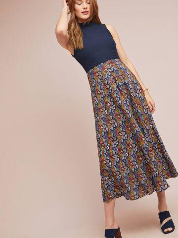 שמלת מידי ריב עם חצאית חלקה בהדפס פרחים Tiny