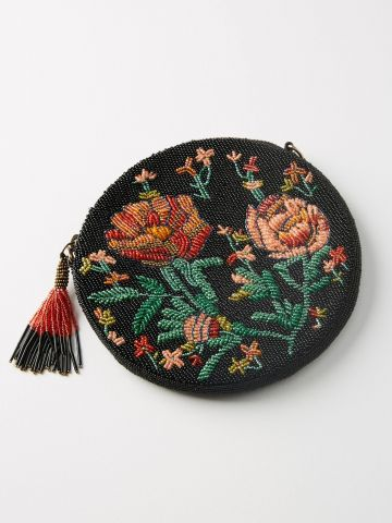 תיק צד עגול מחורז עם פרחים