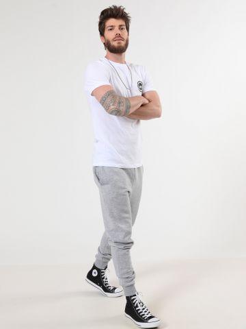 מכנסי טרנינג מלאנז' לוגו