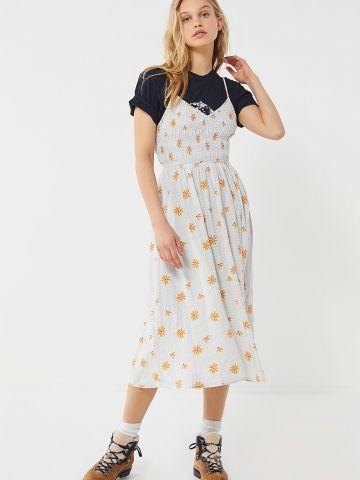 שמלת מידי וי בהדפס משבצות ופרחים UO