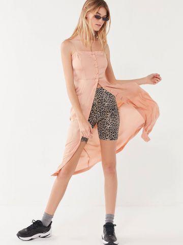 שמלת מידי מכופתרת עם כתפיות קשירה UO