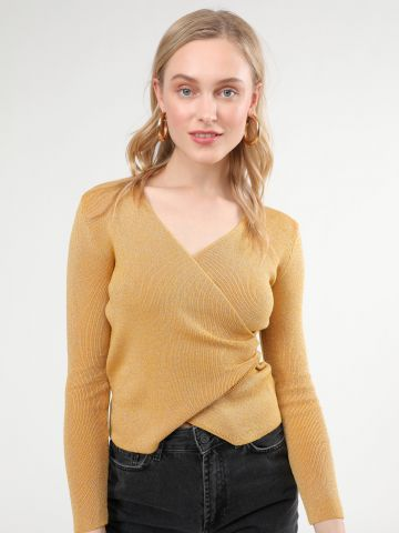 חולצת סריג לורקס בסגנון מעטפת וי