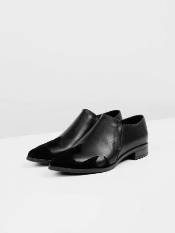 נעלי אוקספורד דמוי עור עם עיטורי קטיפה