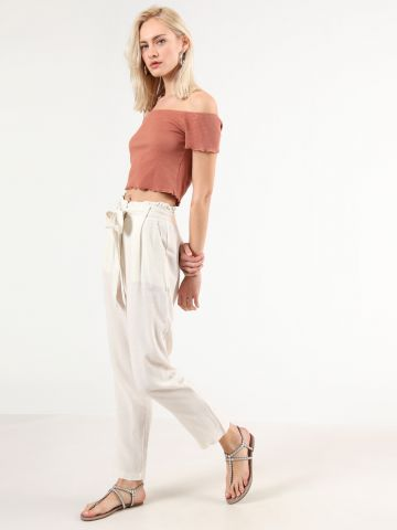 מכנסי פשתן פייפרבאג עם חגורת קשירה