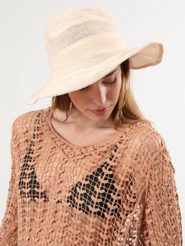 כובע וינטאג' עם שוליים גמישים