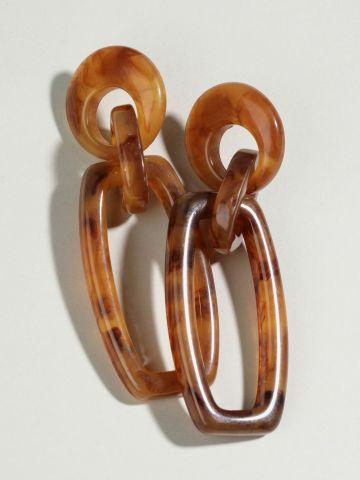 עגילים נצמדים בסגנון שרשרת מרובעת