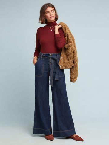מכנסי ג'ינס מתרחבים בגזרה גבוהה עם חגורה Pilcro