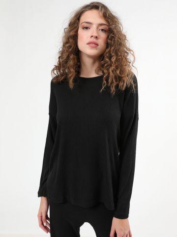 חולצת סריג ריב עם שרוולים ארוכים