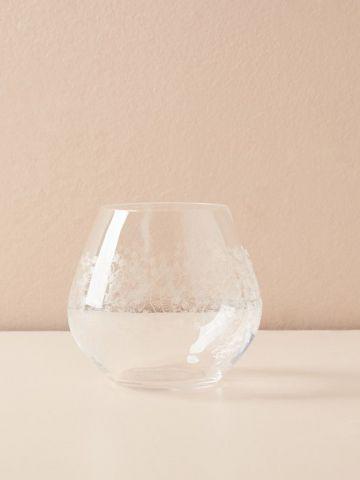 כוס יין קריסטל נמוכה עם עיטורים עדינים Gardenshire