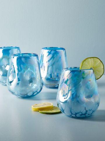 מארז 4 כוסות שתייה עם עיטורי זכוכית חלבית