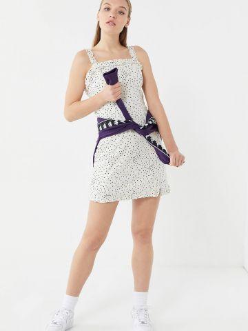 שמלת פשתן מיני בהדפס נקודות UO